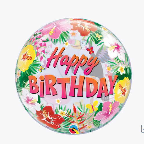 Balloon covered in pretty flowers and happy birthday