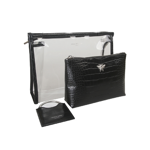 Two black makeup bags and matching mirror