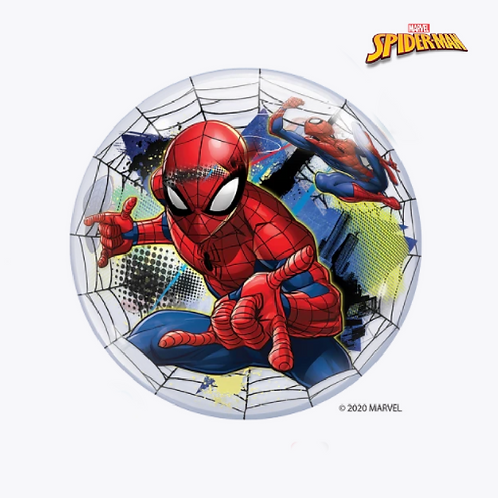 Round bubble balloon with picture of spiderman