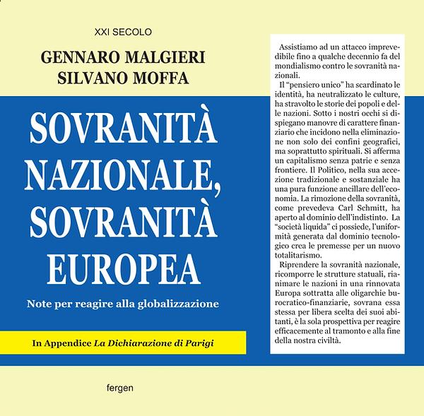 Copertina Libro Sovranità Nazionale, Sovranità Europea