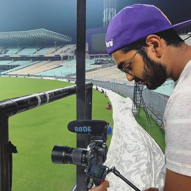 Filming during a practice game for Kolkata Knight Riders