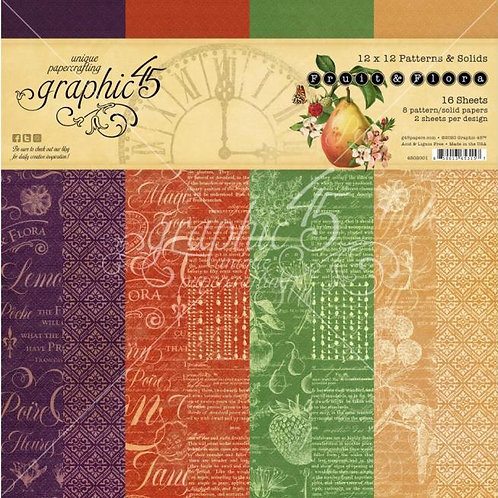 Graphic 45 Fruit and Flora 12x12 Patterns and Solids