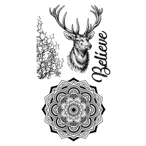 Stamperia Cosmos Collection Stamps - Deer and Believe
