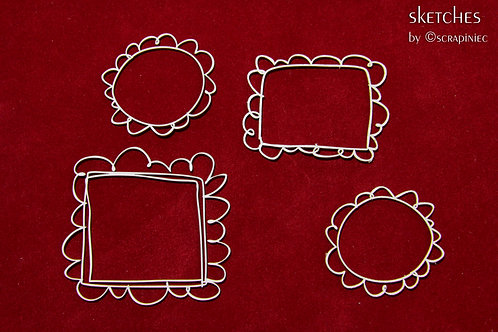 Scrapiniec - Sketch Scalloped Frames - Chipboard
