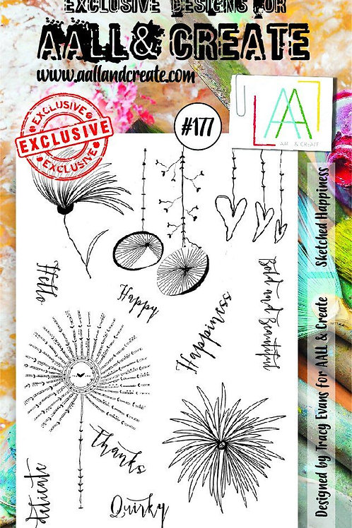 Aall &Create Stamp #177 - Sketched Happiness by Tracy Evans