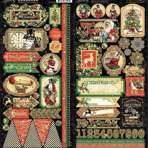 Graphic 45 Christmas Time Cardstock Stickers