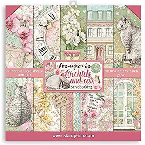Stamperia- Cats and Orchids - 8x8 Collection Pad