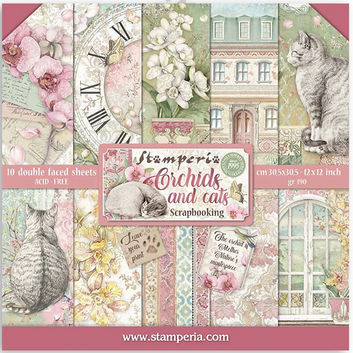 Stamperia- Cats and Orchids - 12x12 Collection Pad