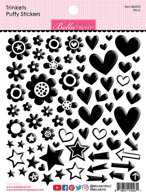 Bella Blvd - Trinkets - Puffy Stickers Black
