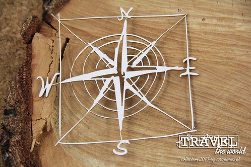 Scrapiniec - Travel The World - Compass Rose chipboard
