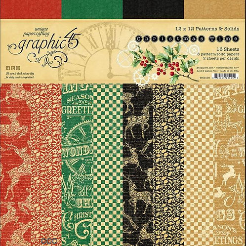 Graphic 45 Christmas Time 12x12 Patterns and Solids