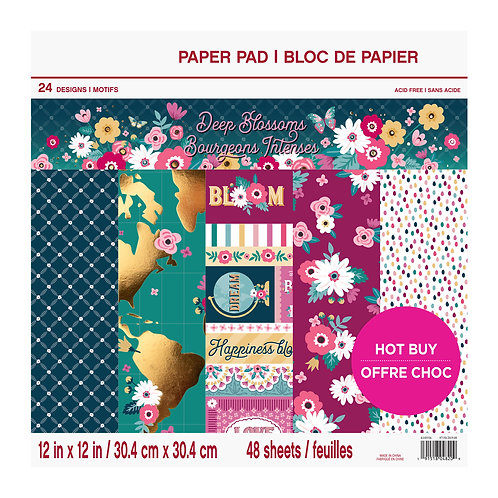 Craft Smith - Deep Blossoms - 12 x 12 Paper Pad