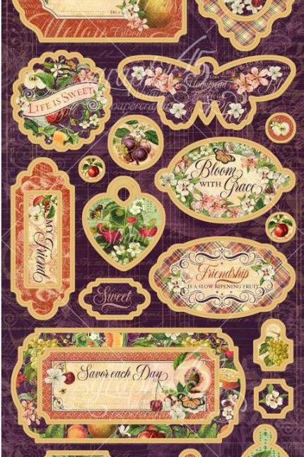 Graphic 45 Fruit and Flora Chipboards