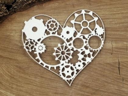Scrapiniec - Steampunk Flying Hearts - Gear Heart chipboard