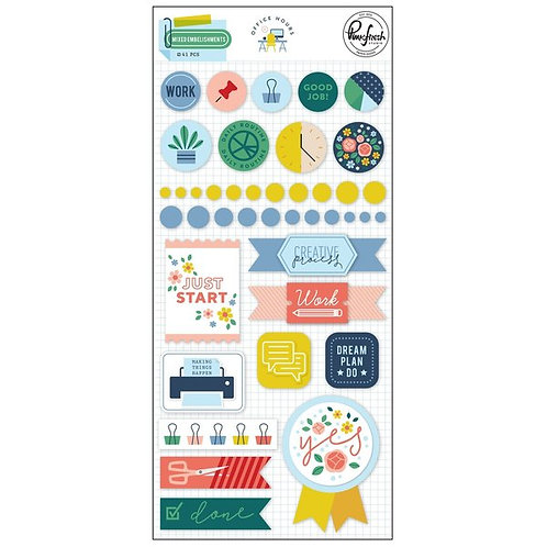 PinkFresh Studio Office Hours Mixed Embellishment Pack