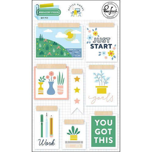 PinkFresh Studio Office Hours Wood Accent Stickers Embellishment Pack