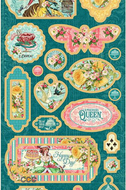 Graphic 45 Ephemera Queen Chipboard Pieces