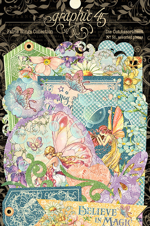 Graphic 45 - Fairie Wings - Die Cut Ephemera