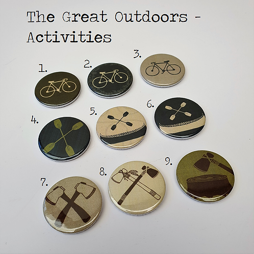 The Great Outdoors Flair Buttons - Four Sets - Lucky Dip