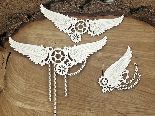 Scrapiniec - Steampunk - Flying Hearts - Big Chained Wings chipboards