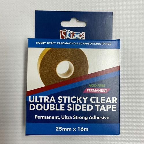 Stix2 - Ultra Sticky Clear Double Sided Tape - 25mm x 16m