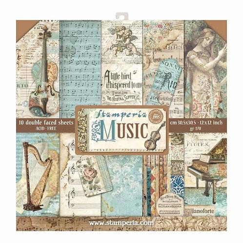 Stamperia  - Music - 12 x 12 Paper Pad