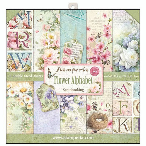 Stamperia  - Flower Alphabet - 12 x 12 Paper Pad