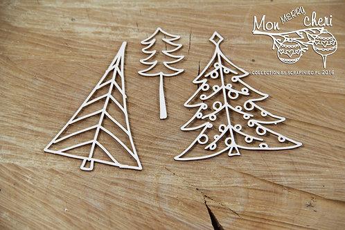 Scrapiniec - Mon Merry Cheri - Christmas Trees chipboard