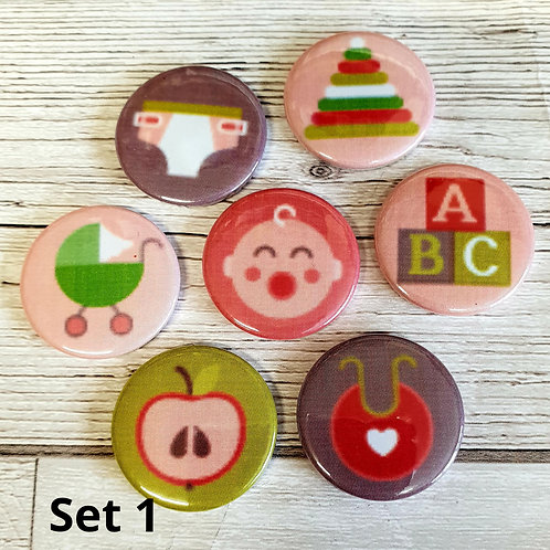 Lee's Little Love - 25mm Flair Buttons - Set of Seven - Lucky Dip
