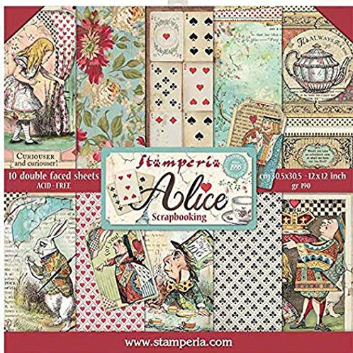 Stamperia Alice 12 x 12 paper collection