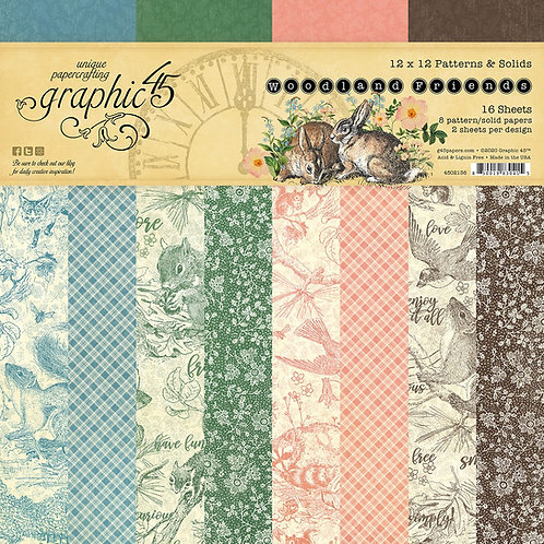 Graphic 45 Woodland Friends 12x12 Patterns and Solids