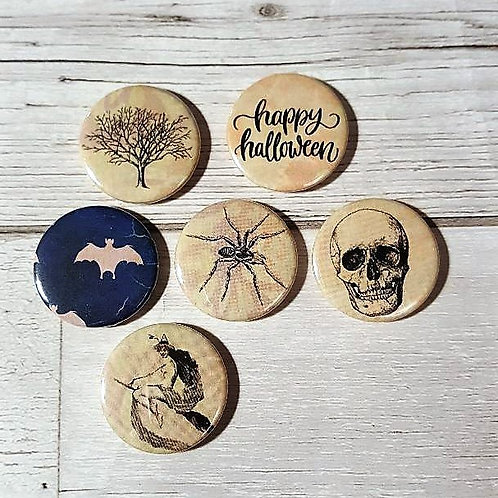 Happy Halloween Vintage Flair Buttons - Assorted