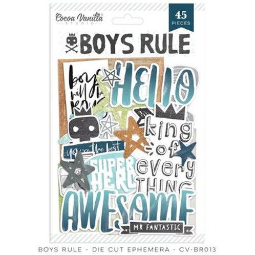Cocoa Vanilla  - Boys Rule - Die Cut Ephemera