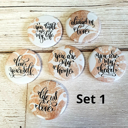 Chocolate Damask Phrase 25mm Flair Buttons - Set of Six - Lucky Dip
