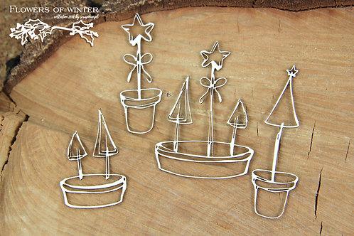 Scrapiniec - Flowers of Winter - Christmas Pots chipboards
