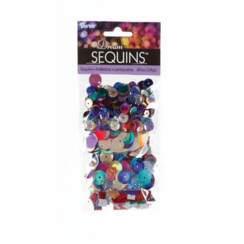 Darice Bright Multicoloured Sequin Selection Pack 24g