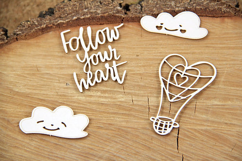 Scrapiniec - Clouded Hearts - Balloon chipboard