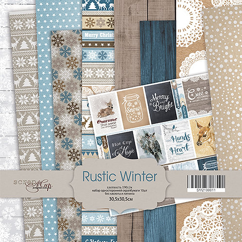 Rustic Winter Bundle - 12x12 papers, die cuts, tag pockets and flair