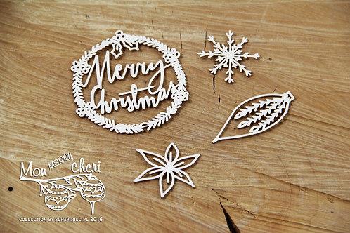 Scrapiniec - Mon Merry Cheri - Merry Christmas 2 chipboards