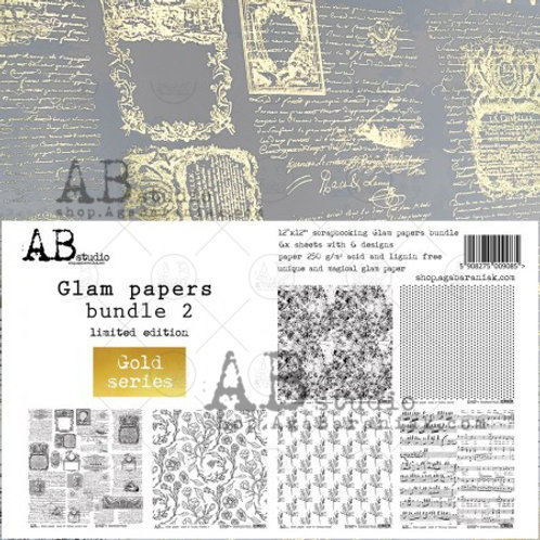 AB Studio - Gold Glam Papers Bundle 2 - 12x12 Paper Pack