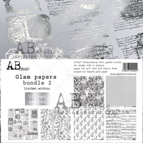 AB Studio - Silver Glam Papers Bundle 2 - 12x12 Paper Pack