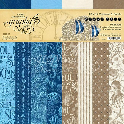 Graphic 45 - Ocean Blue - 12x12 Patterns and Solids