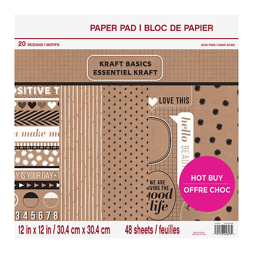Craft Smith - Kraft Basics - 12 x 12 Paper Pad