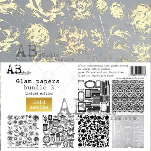 AB Studio - Gold Glam Papers Bundle 3 - 12x12 Paper Pack