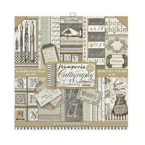 Stamperia - Calligraphy - 8x8 Collection Pad