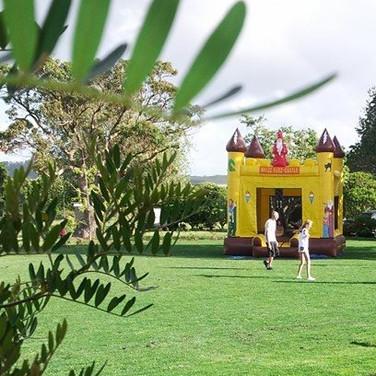 Bouncy castle on LaValla lawn
