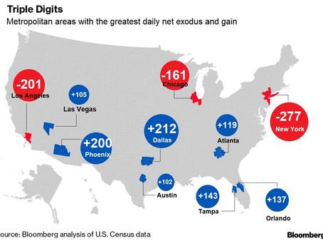 אנשים בורחים מניו יורק ולוס אנג׳לס, למה ולאן?