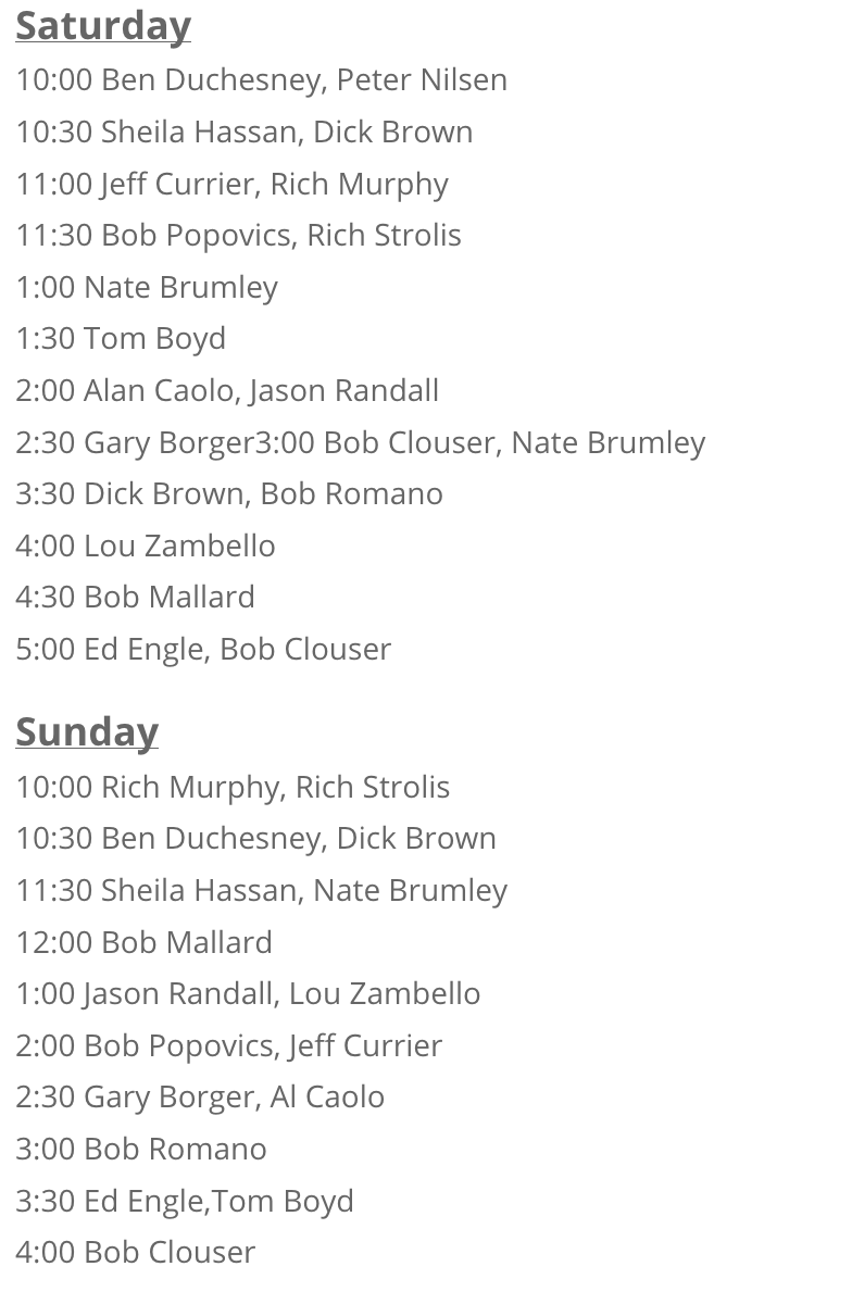 The full schedule for The Fly Fishing Show in Marlboro, MA.