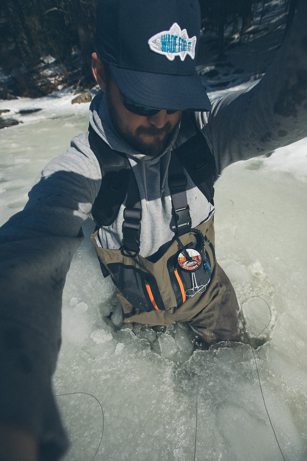 After falling into the ice Ben Duchesney had to snap a photograph before getting out.