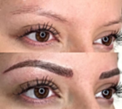 Image of woman with sparse eyebrows prior to receiving microblading treatment and after receiving microblading treatment at Flirt Wax Bar.